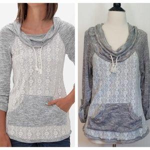 Buckle Daytrip Cowl Neck Lace Sweatshirt
